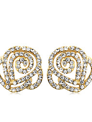 Korean Fashion Studded With Drill Rose Alloy Earrings