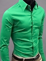 QCH Men'S Long Sleeve Gentleman Shirts(Green)