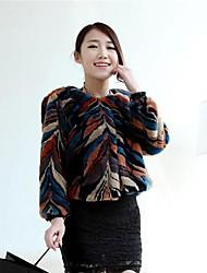 Fleur-de-lis Fashion Thick Long Sleeve Collarless Faux Fur Jacket