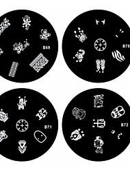 1pcs nail art estampage estampille l'image modèle plaque b série n ° 69-72 (modèle assortis)