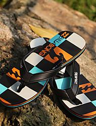 Quiksilver Men's Beach Sports Plaid Pattern Orange+Blue Flip Flops BG005