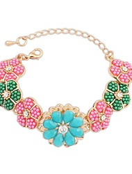 Women's European and America Exquisite Colorful Beaded FlowerChain Link Bracelets (1pc)