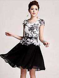 mini vestido, gasa negro de la vendimia / sexy / impresión de las mujeres