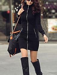 vestido largo de la cadera del paquete de la mujer coreana delgado cremallera chaqueta de manga