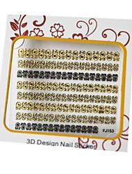 Golden And Black Mixed Nail Art Stickers 3D Metal Nails Decoration