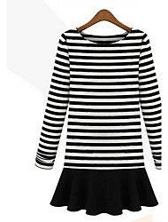 Women's Casual/Daily Vintage A Line Dress,Striped Round Neck Mini / Above Knee Long Sleeve White / Black Cotton Spring / Fall / Winter