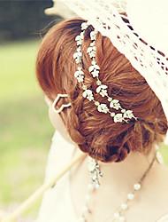 lureme®fashion Frauen Silber Kristall Rhinestone-Blumen elastisches Haarband Stirnband