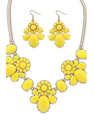 Women's European and America Cute Clear Flowers  Statement Necklace Hook Earrings Suit (More Colors)  (1 set)