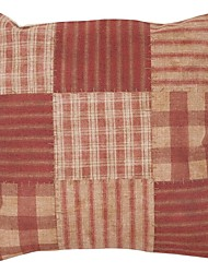 Cotton/Linen Pillow Cover / Pillow With Insert , Plaid Country