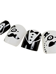24PCS Mustache Design Black&White Nail Art Tips With Glue