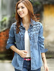Women's Long Sleeve Jean Embroidered Shirt