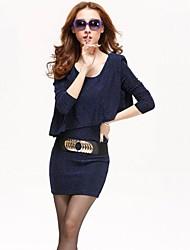 Women's U Neck Mini Dress , Cotton Blue/Red/Gold Sexy/Party