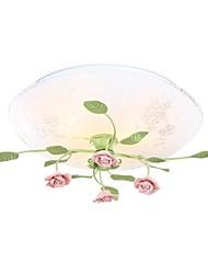 Flush Mount Light Plancha Ceramic Art Modern Roses Rural Country Style