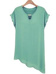 Women's Plus Size / Vintage / Cute Spring / Summer T-shirt Short Sleeve Blue / Green / Yellow Thin