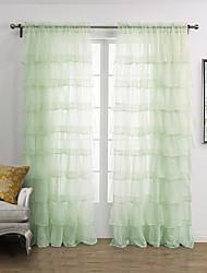 twopages® (um painel de varetas bolso) elegante luz minimalista verde sólida cortina completa plicate