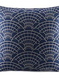 Traditional Blue Fan  Cotton/Linen Decorative Pillow Cover