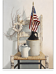 Retro Country Style Chair And Stars Stripes Roller Shade