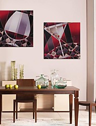 Canvas Art Red Copo de Vinho Conjunto de 2