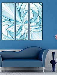 Blue Abstract Floral Arts Framed Canvas Print Set of  3