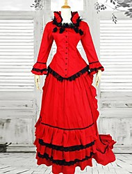 One-Piece/Dress Maid Suits Classic/Traditional Lolita Victorian Cosplay Lolita Dress Red Vintage Long Sleeve Long Length Dress For Cotton