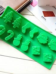 Schneemann Weihnachtsbaum Zauberstab Socken Kuchen Schokoladenformen, Silikon 22,6 x 10 x 1,5 cm (8,9 x 3,9 x 0,6 Zoll)