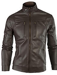 Jogal Wing Stand collar long sleeve PU leather jacket (Black,Brown)