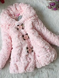 Girl's Floral Jacket & Coat,Faux Fur Winter Pink