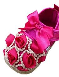 Talon plat rond Appartements orteil de coton fille avec la fleur chaussures (plus de couleurs)
