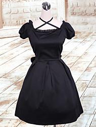 Noble Lady Short Sleeve Knee-length Black Cotton Gothic Lolita Dress