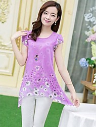 Women's Pink/Yellow/Purple Blouse Short Sleeve