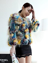 Colorful Thick Long Sleeve Collarless Faux Fur Jacket