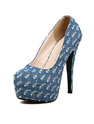 Daisha Women's OL Jeans Clothes Round Head Thin High-heeled Shoes