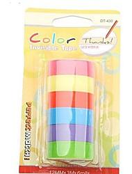 ruban adhésif de couleur décoration arc autocollants 6 rouleaux fixés (couleurs assorties)