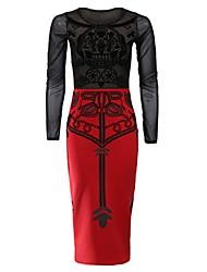 YIZOO Ebay europea e la stampa del vestito stile americano filato della rete Sexy (rosso, bianco)