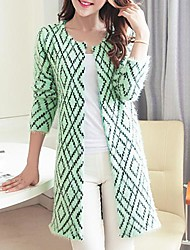 Women's Loose Diamond Check Cardigan Sweater