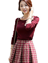 Hanyiou Round Collar Long Sleeve Splicing Sweater