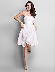 TS Couture Knee-length Sweetheart Bridesmaid Dress - Elegant Sleeveless Lace Stretch Satin