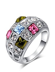 Womens White Gold Plated Rings Bijoux Crystal Multi-color Jewelry