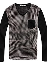 Men's Fashin V-neck Grid Sweater
