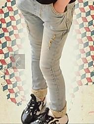Pantalones de ZZTU ™ Girl with Lace Blue Denim Pantalones Lápiz