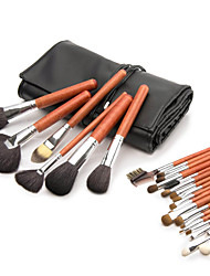 Professional High Quality Deluxe 26 Pcs Natural Animal Hair  Makeup Brush Set With Leather Case