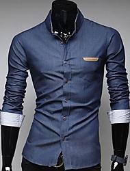 Herrentasche Leder Abzeichen Design Casual Langarm Jeanshemden ein