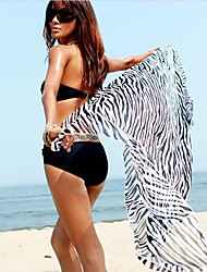 Women's Zebra Figure Beach Wrapped Body Veil Clothing