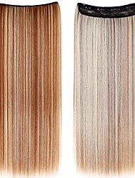 24 Inch Long Synthetic Straight Clip In Hair Extensions with 5 Clips - 24 Colors Available
