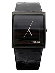 haleiweide Luxus analogen schwarzen Gehäuse Lederarmband Herren Uhr Quarz Armbanduhr