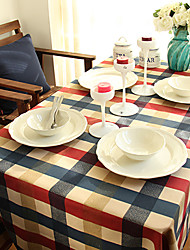"""Mediterranean Style Red and Blue Plaid Table Cloth,Fabric 51.1""""*15.7"""""""