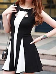 Preto gola redonda da Mulher e Branco Stripe Bodycon Vestido