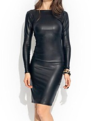 Women's Two Ways PU Leather Wrap Dress