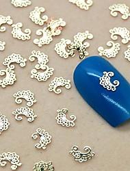 200pcs Blumenspitze scheibe goldenen Metall-Nagelkunstdekoration
