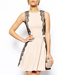 Women's Lace Pink Dress , Lace/Party Round Neck Sleeveless